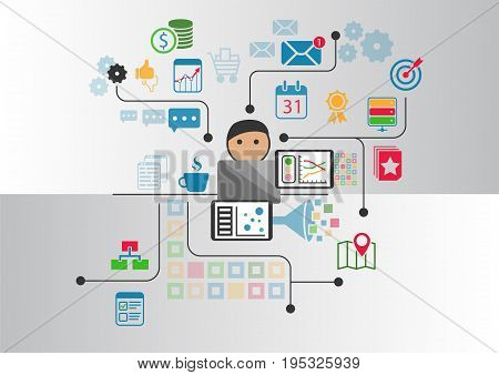 Big data, analytics and business intelligence concept. Cartoon person connected to data and information retrieved from the internet
