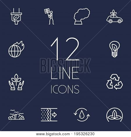 Set Of 12 Atmosphere Outline Icons Set.Collection Of Charge, Ecologist, Recycling And Other Elements.