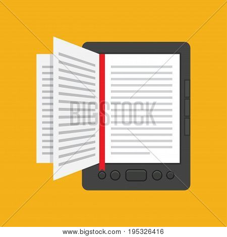 e-book concept in flat design Online Education and Library vector illustration