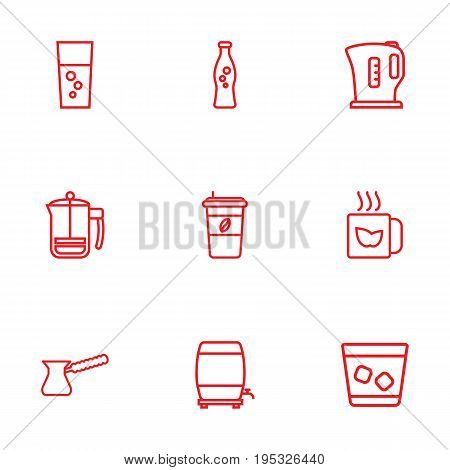 Set Of 9 Beverages Outline Icons Set.Collection Of Cappuccino, French Press, Whiskey And Other Elements.
