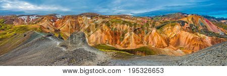 Panoramic View Of Colorful Volcanic Mountains Landmannalaugar In Iceland