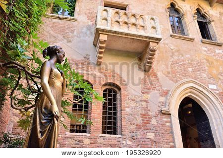 Patio and balcony of Romeo and Juliet house Verona Italy