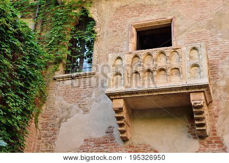 Balcony by Juliet house in Verona Veneto region Italy.
