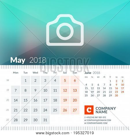 May 2018. Calendar For 2018 Year. Week Starts On Monday. 2 Months On Page. Vector Design Print Templ