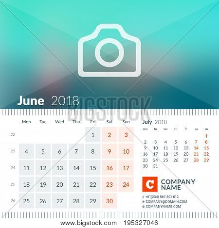 June 2018. Calendar For 2018 Year. Week Starts On Monday. 2 Months On Page. Vector Design Print Temp