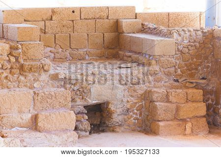 Roman Old Stone Oven In Caesarea Archaeological Site Close To Herod The Great Hippodrome