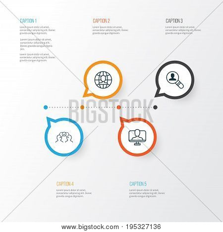 Business Icons Set. Collection Of Online Identity, Open Vacancy, Global Work And Other Elements. Also Includes Symbols Such As Vacancy, Employee, Global.