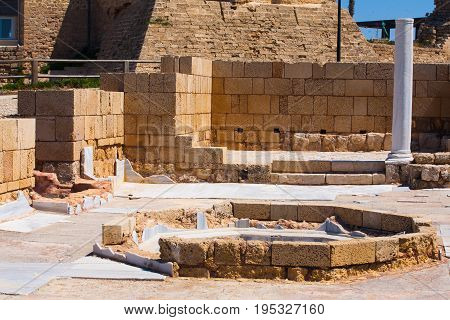 Roman Old Stone Public Bath In Caesarea Archaeological Site Close To Herod The Great Hippodrome