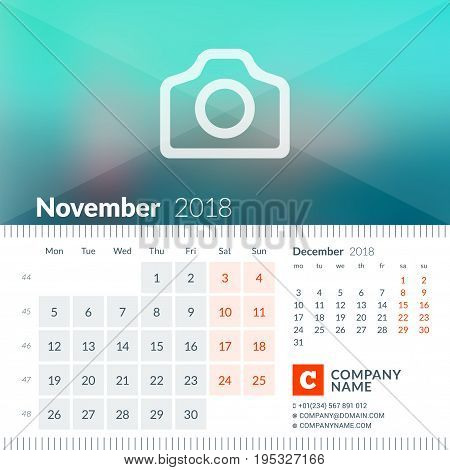November 2018. Calendar For 2018 Year. Week Starts On Monday. 2 Months On Page. Vector Design Print