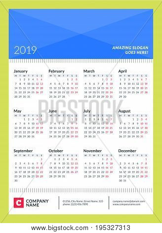 Calendar Poster For 2019 Year. Week Starts On Monday. 12 Months On Page. Vector Design Print Templat