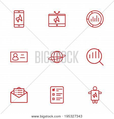 Set Of 9 Advertising Outline Icons Set.Collection Of Brand Awareness, Business Card, Client Brief Elements.