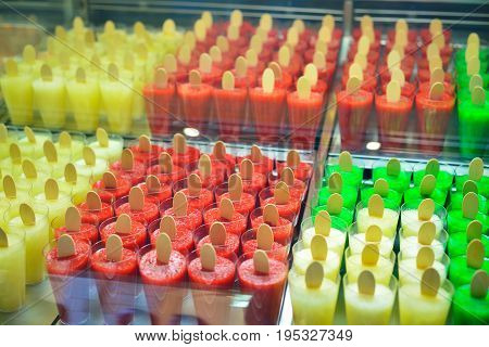 Showcase with a large assortment of ice cream