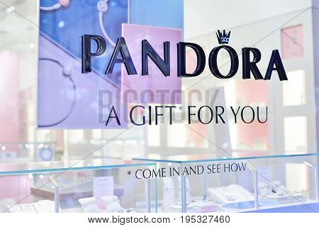VERONA ITALY - MAY 2017: A PANDORA jewelery shop. Founded in 1982 with HQ in Copenhagen PANDORA employs over 6200 people and is sold in more than 70 countries.