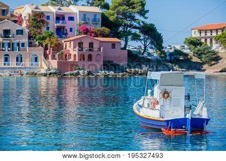 Beautiful boat in Assos in island Kefalonia, Greece