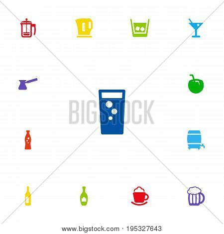 Set Of 13 Drinks Icons Set.Collection Of Cream, Pot, Electric Teapot And Other Elements.