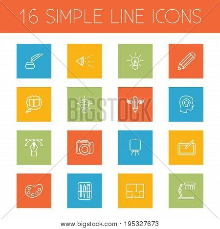 Set Of 16 Creative Outline Icons Set.Collection Of Brain, Knowledge, Inkwell With Pen And Other Elements.