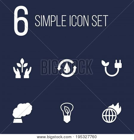Set Of 6 Ecology Icons Set.Collection Of Warm, Contamination, Treatment And Other Elements.