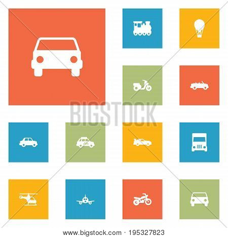 Set Of 12 Traffic Icons Set.Collection Of Scooter, Car, Taxicab And Other Elements.
