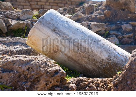 Roman Old Marbe Fallen Column Row In Caesarea Archaeological Site Close To Herod The Great Hippodrom