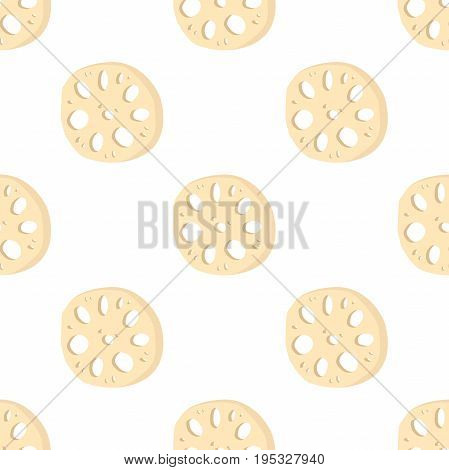 Lotus root, slices of exotic fruit in seamless pattern. Natural tropical plant. Made in cartoon flat style. Vector illustration