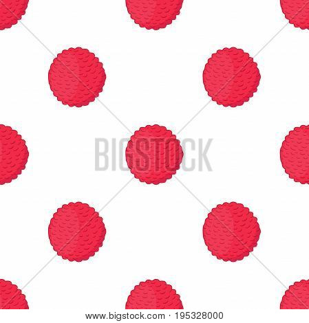 Pink lychee, tropical exotic fruit seamless pattern. Organic healthy nutrition - vegetarian lichee. Made in cartoon flat style. Vector illustration
