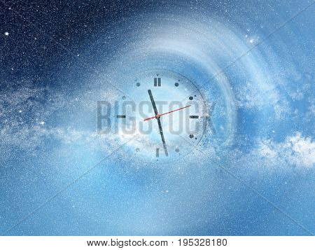 conceptual image of abstract lights and clock in space. NASA space image manipulated and layered; www.nasa.gov