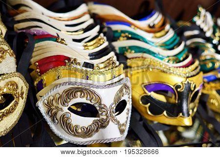 Street carnival mask shop in Venice Italy