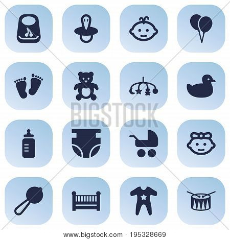 Set Of 16 Child Icons Set.Collection Of Trace, Barrel, Girl And Other Elements.