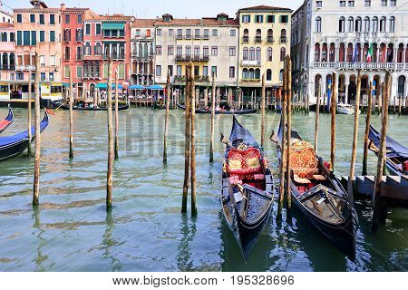 Gondolas in grand canal Venice Italy, famous place