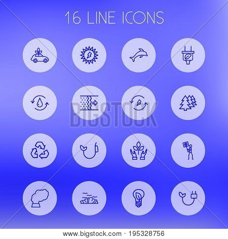 Set Of 16 Atmosphere Outline Icons Set.Collection Of Water, Air, Afforestation And Other Elements.