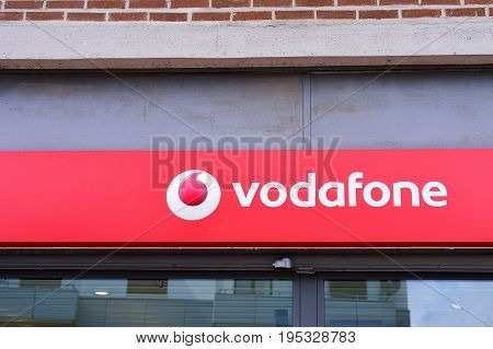 VERONA ITALY - MAY 2017: Vodafone logo. Vodafone Group is a British telecommunications company headquartered in London.