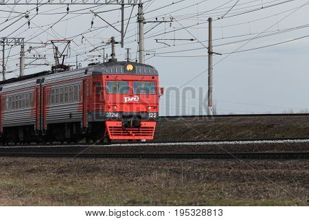 April 10 2017 St. Petersburg Russian Railways speed passenger train in motion