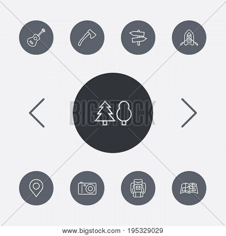 Set Of 9 Camping Outline Icons Set.Collection Of Gps, Ax, Rubber Boat And Other Elements.