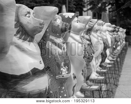 BERLIN GERMANY - JULY 3 2017: United Buddy Bears At Wittenbergplatz Square In Berlin Selected Focus Black And White