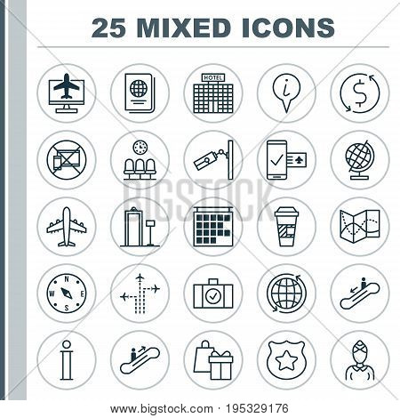 Travel Icons Set. Collection Of Information, Flight Path, Resort Development And Other Elements. Also Includes Symbols Such As Takeaway, Flight, Exchange.