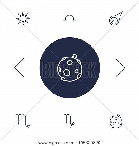 Set Of 6 Astronomy Outline Icons Set.Collection Of Capricorn, Scorpion, Sun And Other Elements.