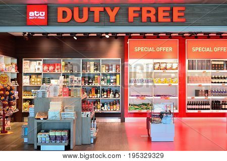 ISTANBUL TURKEY - APRIL 2017: Duty Free Shop in Istanbul Turkey. Duty free shops are retail outlets that are exempt from the payment of certain local or national taxes and duties