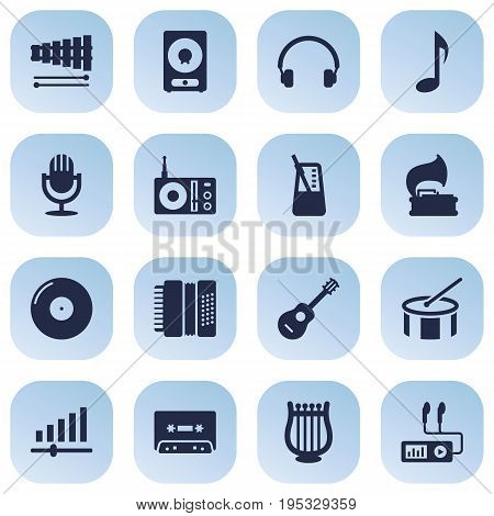Set Of 16 Melody Icons Set.Collection Of Karaoke, Radio, Tambourine And Other Elements.