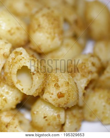 Italian Pasta Called Pipe Rigate Aglio Olio