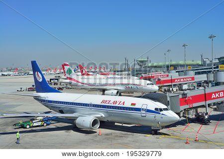 ISTANBUL TURKEY - APRIL 2017: Airplanes at Istanbul Ataturk Airport in Istanbul Turkey.