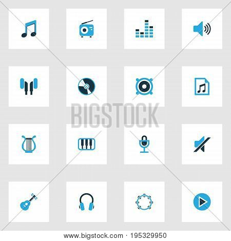 Music Colorful Icons Set. Collection Of Volume, Guitar, Harp And Other Elements. Also Includes Symbols Such As Tambourine, Earmuff, Mike.