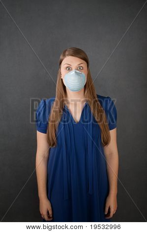 Scared Woman Wearing Surgical Mask