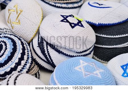 Kippahs Yarmulkes Jewish Hats Covers Israeli Star of David Souvenirs Safed Tsefat Israel. Kippahs. Jewish headgear worn by men during a Jewish. Required by Judaisim.