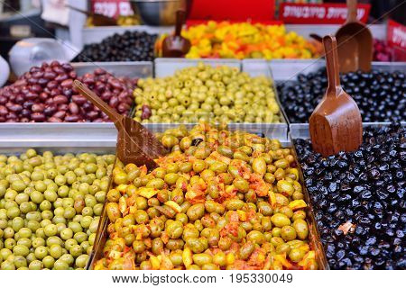 Olives in the Mahane Yehuda Market in Jerusalem.