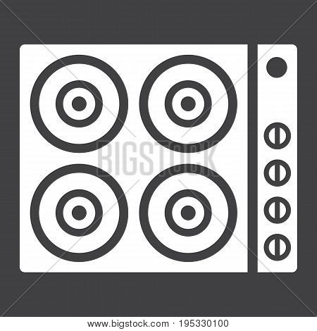 electric hot plate glyph icon, electrical stove and appliance, vector graphics, a solid pattern on a black background, eps 10.