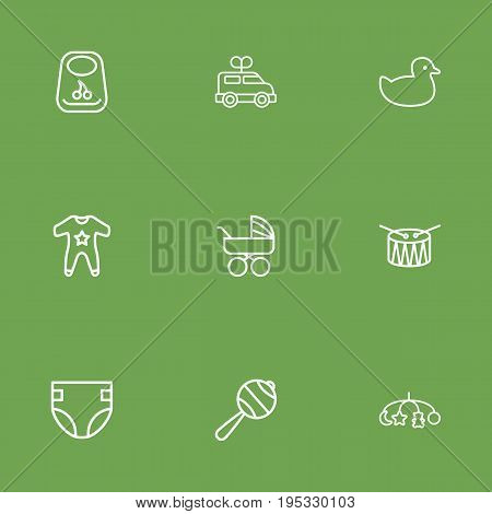Set Of 9 Kid Outline Icons Set.Collection Of Rattles, Drum, Rubber And Other Elements.