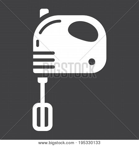 Hand mixer solid icon, household and appliance, vector graphics, a glyph pattern on a black background, eps 10.