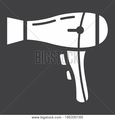 Hair dryer solid icon, household and appliance, vector graphics, a glyph pattern on a black background, eps 10.