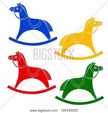 Set children s rocking chair. Horse for small children. rocking horse. Vector illustration