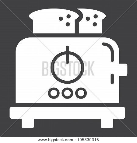 Toaster solid icon, kitchen and appliance, vector graphics, a glyph pattern on a black background, eps 10.